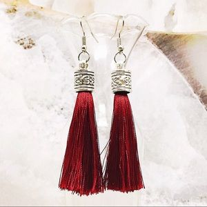 Jewelry - BOGO💫New! 🌟Tibetan Silver Ruby Red Silky Tassels
